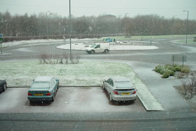 snow at 9.45am