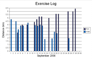 Exercise log chart for September 2006
